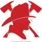 Stock vector firefighter head with helmet and two axes 167274401