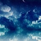 Blue clouds stars moon reflections desktop 1600x1200 hd wallpaper 819623