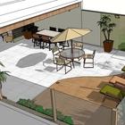 Projeto de referencia  fiz para um cliente e tem particularidades com o patio externo da sua cobertura. a  sua em uma escala maior.